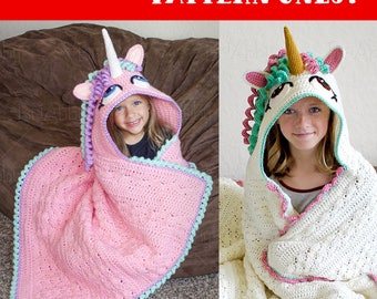 CROCHET PATTERN - Hooded Unicorn Blanket Pattern (PDF File)