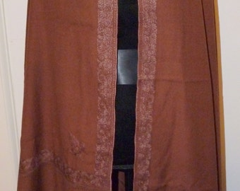 Vintage REMARKABLE  Antique Embroidered Brown Kashmiri Himalayan Nepalese Indian Wool Shawl  Wrap Cloak COLLECTOR TEXTILE