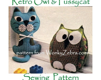 Vintage Toy OWL Cushion Sewn Sewing Pattern PDF 589 from ToyPatternLand and WonkyZebra