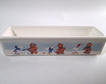 Vintage Quacker Dish, House of Lloyd 1988, Holiday Cracker Serving Dish, Christmas Around the World, Bears & Geese, Excellent/New Condition
