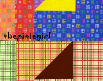 ORIGAMI PAPER CHECKERED Print 28 Sheets 2 Patterns 14 Colors