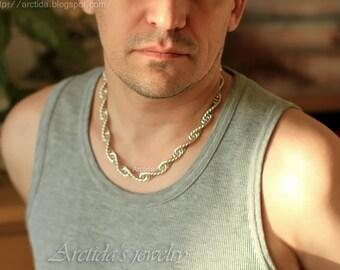 Herren Halskette Herren Schmuck Sterling Silber Chainmaille Halskette für Männer - DNA DNA Schmuck Spirale schwere Kette Männermode