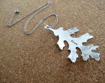 Love Necklace - Hand stamped Leaf Necklace - Nature Inspired Jewelry