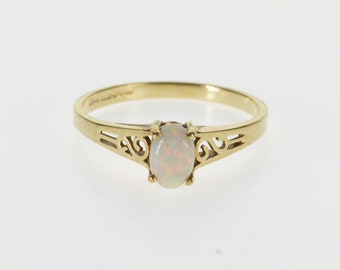 10K Oval Syn. Opal Solitaire Scroll Accented Ring Size 5.75 Yellow Gold