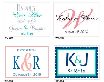 102 - 4x3 Glossy Waterproof Wedding Rectangle / Welcome Bag Stickers - hundreds of designs to choose -change designs to any color or wording