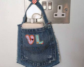 iPhone, Smart Phone , iPod Touch Docking Station, Mobile/Cell Phone Charging Station, Personalised, Custom, Upcycled Denim, Stocking Filler