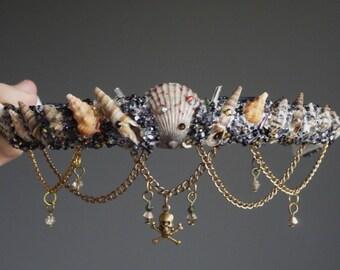 The PIRATE Mermaid Flower Crown / headband / headdress with Swarovski crystal details