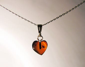 Baltic Amber Heart Necklace -Sterling Silver Chain - SMALL