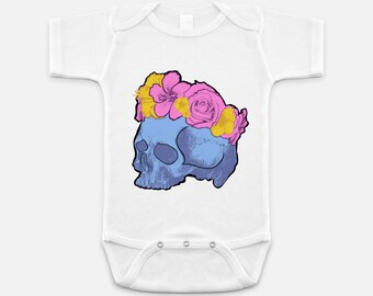 Cool Pastel Blue Skull with Pink and Yellow Flower Crowns - Baby Onesie - 3-6 months - 6-12 months - 12-18 months
