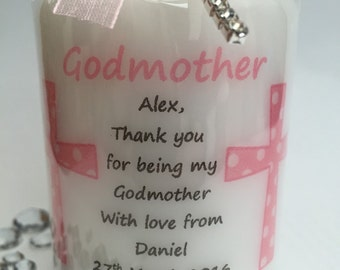 Personalised Godmother / Godfather Gift Candle Pink &Blue