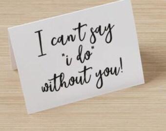 Will You Be My Bridesmaid Card - Bridal Party, Notecard, Bridesmaid Invitation