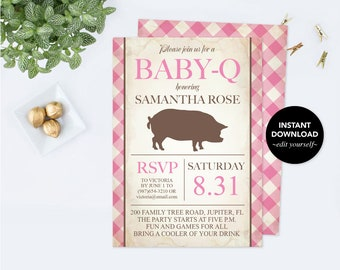 Girl Baby Q Invitation PDF Template, Printable Gender Reveal Baby Shower, Baby BBQ Invitation, Digital File, Baby Barbeque Editable Rustic