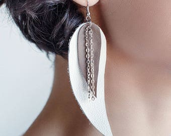 White and grey Feather Leather Earrings, layered earrings, tribal Earrings, Boho earrings, dangle earrings, long leather earrings