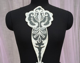 Sequined Embroidery Lace Applique For Bridal Wedding Dress, Sell By piece