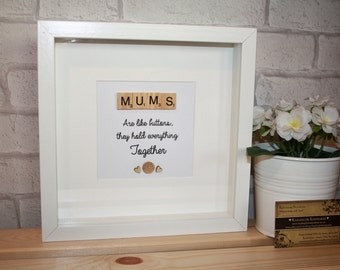 Mums are like buttons, they hold everything together scrabble quote frame / scrabble art frame / mums like buttons quote / gift for our mum