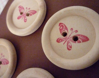 Wooden Buttons - Stamped Butterfly Collection - 30mm