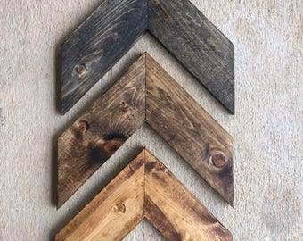 Wall Art 3 Piece Chevron, Rustic Unique Home Décor, Wooden , Wooden Chevron, Hanging Wood Arrow (3 piece)