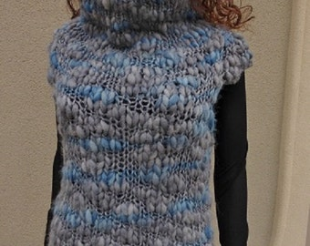Knitted bulky Vest with cowl neck and cup sleeves