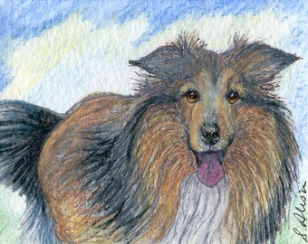 Sheltie dog pup signed 8x10 inch art print fresh air fiend by Susan Alison outdoor dog enthusiast tricolor Shetland sheepdog from watercolor