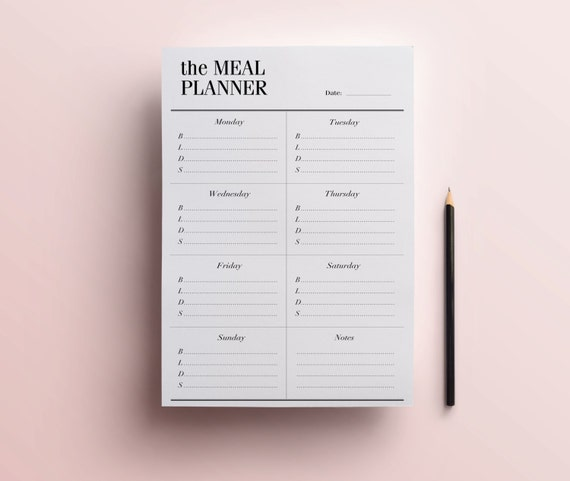Printable Weekly Meal Planners: Weekly Meal Planner Printable A5 / A4 / Half Size 8.5 X 5.5