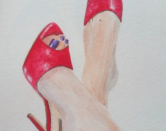 Original watercolor of women feet in red shoes