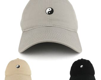 Small Yin Yang Embroidered Washed Cotton Soft Crown Adjustable Dad Hat - Available in 3 Colors! (C03-YINGAYANG)