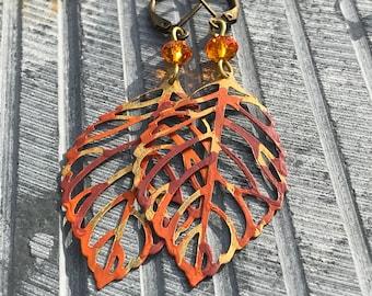 Bohemian Earrings, Fall Dangle Earrings, Boho Earrings, Rustic Hippy Earrings, Hand Painted Earrings, Handmade Jewelry, Gift Ideas for her