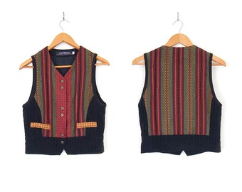 Vintage 90s Colorful Striped Women's Vest - Size Small - Red Green Gold and Black Menswear Inspired Button Up Boho Dandy Waistcoat