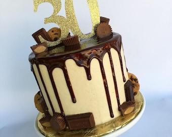 Number cake topper | Glitter cake topper | Gold cake topper | Thirty cake topper | 30th birthday | 30 | 21st birthday | 40th birthday
