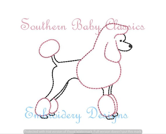 Poodle Dog Vintage Stitch Design File For Embroidery Machine