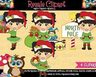 Santa's Little Helper Girl 1 Clipart (Digital Download)