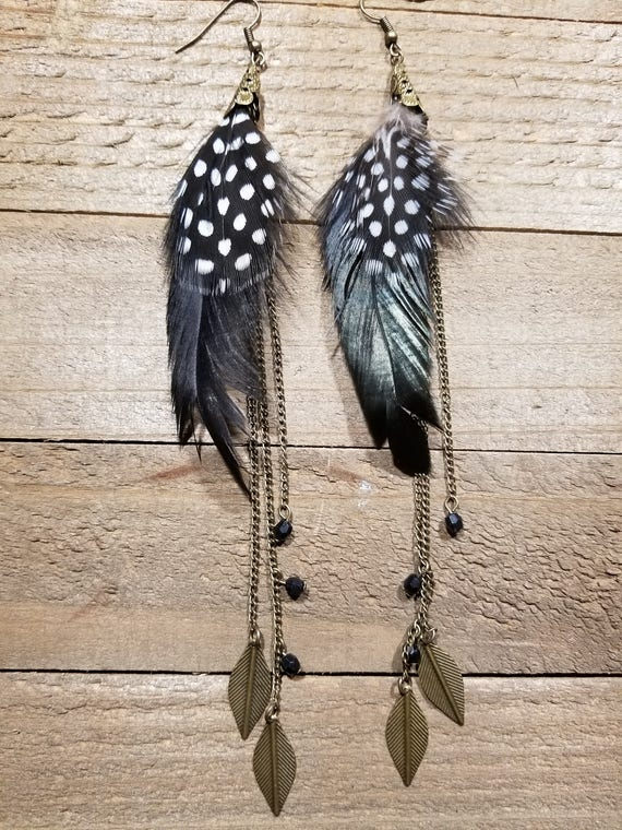 Black Spotted Feathers Long Drop Down Dangle Native American Earth Jewelry Hippie Boho Natural Style