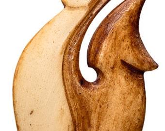 Maori Bone Antiqued Hei Matau Fish Hook Necklace