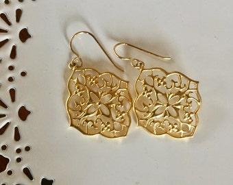 Gold Statement Earring | Gold Filigree Earrings | Statement Earrings | Gold Statement Earrings | Gold Boho Earrings | Bohemian Jewelry