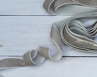 5/8  Gray Velvet NON ELASTIC Ribbon