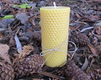 Hexagon Cylinder Beeswax Pillar Candle