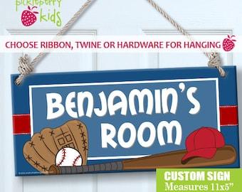 Custom PERSONALIZED Kids Wall Sign Room Decor Door Plaque Little Boy Baseball Cap Baseball Mitt Bat Baseball Sports Theme Sign GREAT Gift