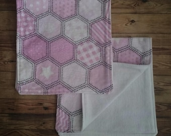 Pink, White and Grey Girl Burp Cloths