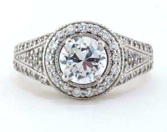 Moissanite Engagement Ring Diamond Halo Setting - Vanessa