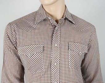 Vintage 1970's Men's Pardners Gingham Plaid Striped HiPPIE HiPsTeR Western RoCk STaR Shirt Size L 46