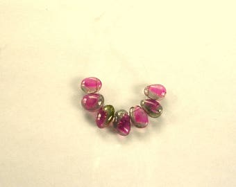 Watermelon tourmaline slice beads 8-10mm 9.6ct 7 pieces