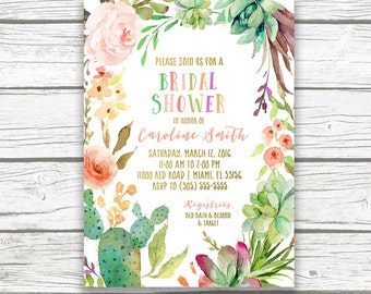 Fiesta Bridal Shower Invitation, Tropical Bridal Shower Invitation, Cactus Bridal Shower Invitation, Floral Wreath Invite, Printable