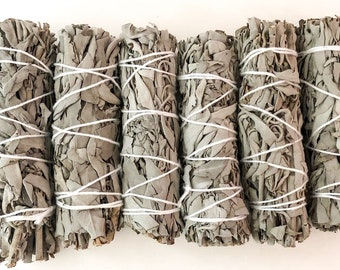 6 pk California White Sage Smudge Bundles Bulk for Smudging, Cleansing, Negativity Clearing, House Cleansing, Healing, Prosperity