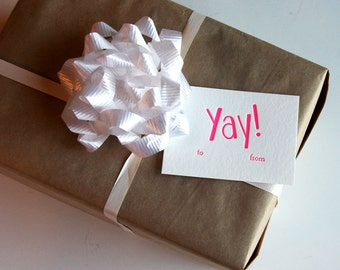 Letterpress Gift Tags - Yay! - set of 9