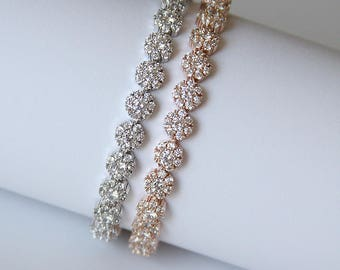 Modern Diamante Tennis Bridal Bracelet Wedding Bracelet Cocktail Jewelry