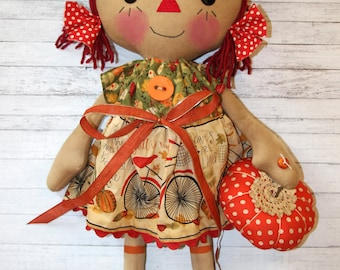 Giant Fall Themed Buttercup Annie with Orange Pumpkin - Primitive Raggedy Ann Dolls (HAFAIR)