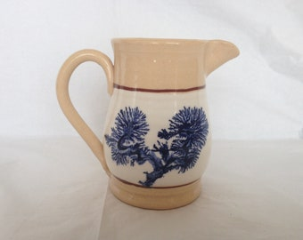 East Knoll Pottery Connecticut ~ Yellow Ware With Mocha Decoration ~ Creamer Pitcher 1980s