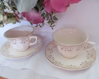 Vintage Royal China Cup Saucer Sets 22K Gold Trim Pattern Flurette