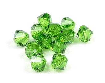 12 FERN GREEN 6mm Bicones Swarovski Crystal Elements Bicones Article 5301 5328 Rich Grass Green Beads