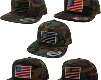 Flexfit Snapback Flat Bill Camouflage Cap with Patriotic American Flag Patch - Camo